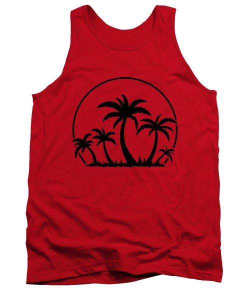 Palm Trees And Sunset In Black Tank Top
