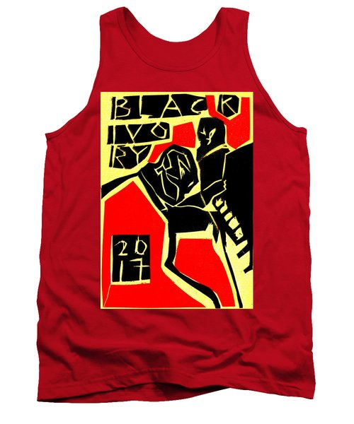Piano Player Black Ivory Woodcut Poster 31 Tank Top