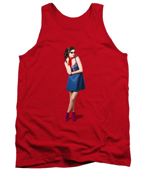 Pin Up Styling Fashion Girl In Retro Denim Dress Tank Top