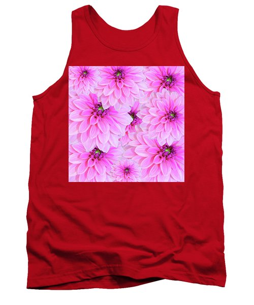 Pink Dahlia Flower Design Tank Top