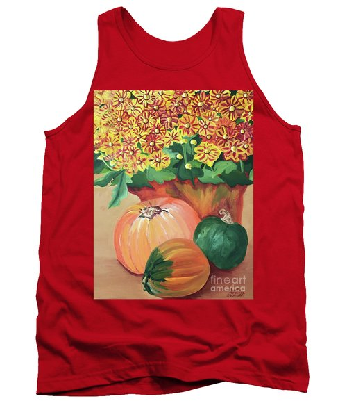 Pumpkin With Flowers Tank Top
