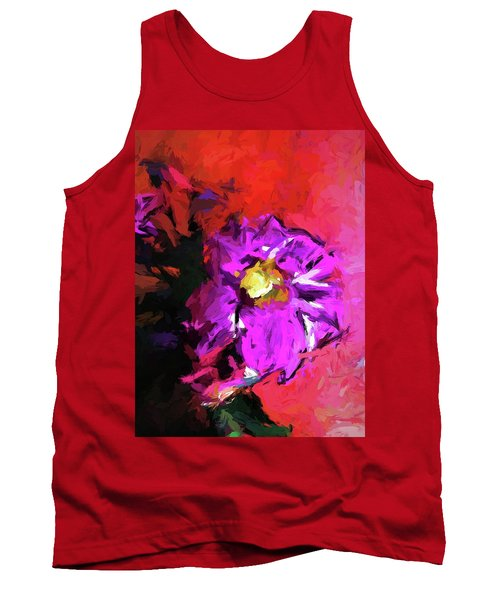 Purple And Yellow Flower And The Red Wall Tank Top