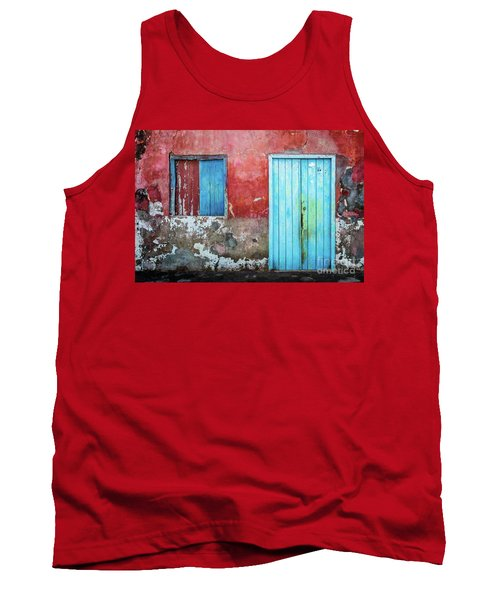 Red, Blue And Grey Wall, Door And Window Tank Top