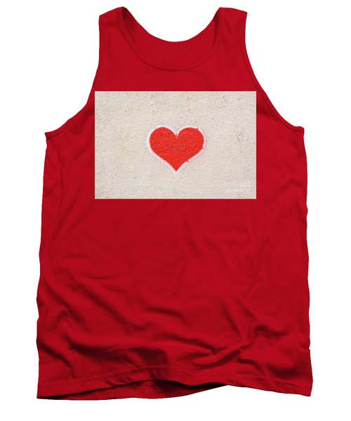 Red Heart Painted On A Wall, Message Of Love. Tank Top