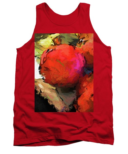 Red Pomegranate In The Yellow Light Tank Top