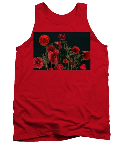 Red Poppies On Black Tank Top