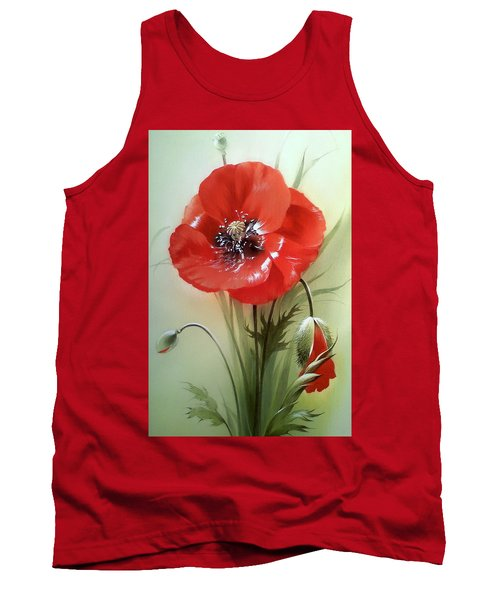 Red Poppy Flower With Bud Tank Top
