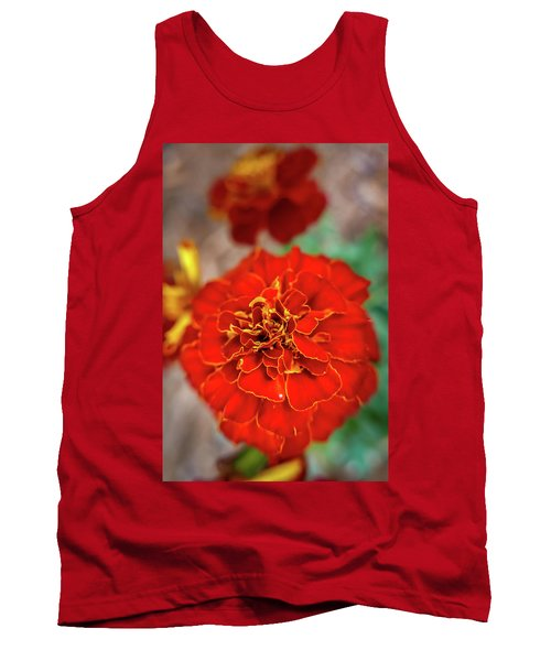 Red Summer Flowers Tank Top