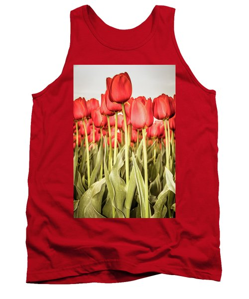 Tank Top featuring the photograph Red Tulip Field In Portrait Format. by Anjo Ten Kate