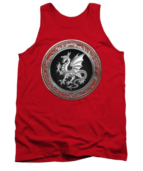 Silver Winged Norse Dragon - Icelandic Viking Landvaettir On Black And Silver Medallion Over Red  Tank Top