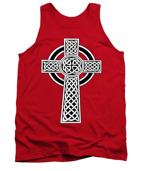 St Patrick's Day Celtic Cross Black And White Tank Top