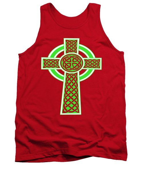 St Patrick's Day Celtic Cross Green And White Tank Top