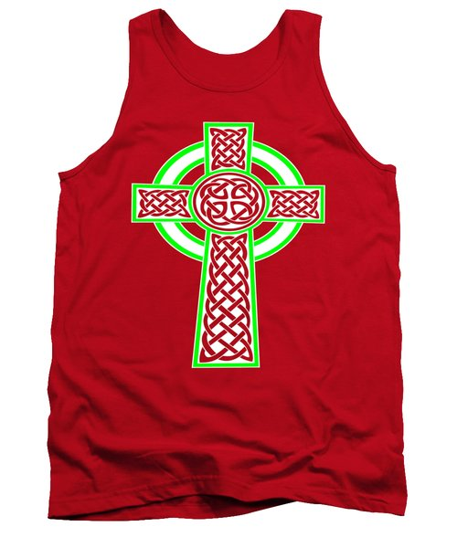 St Patrick's Day Celtic Cross White And Green Tank Top