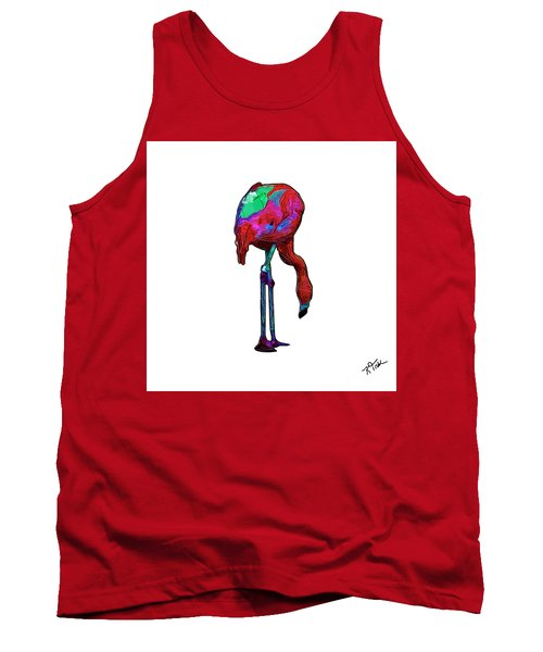Stooped Over Abstract Flamingo Tank Top