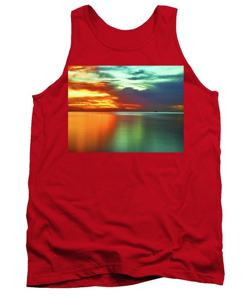 Sunset And Boat Tank Top