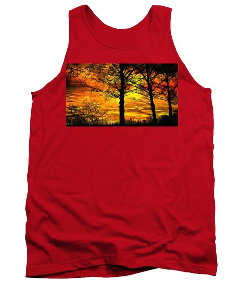 Tank Top featuring the painting Sunset Lake by Harry Warrick