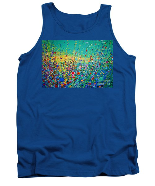 Tank Top featuring the painting  Colorful Flowerscape by Maja Sokolowska