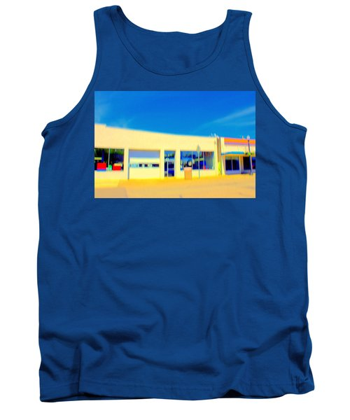 Tank Top featuring the mixed media   Hopper Garage by Terence Morrissey