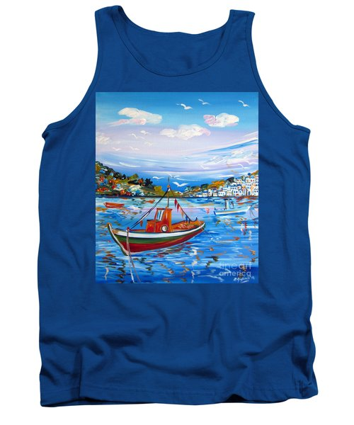 Tank Top featuring the painting  Little Fisherman Boat  by Roberto Gagliardi