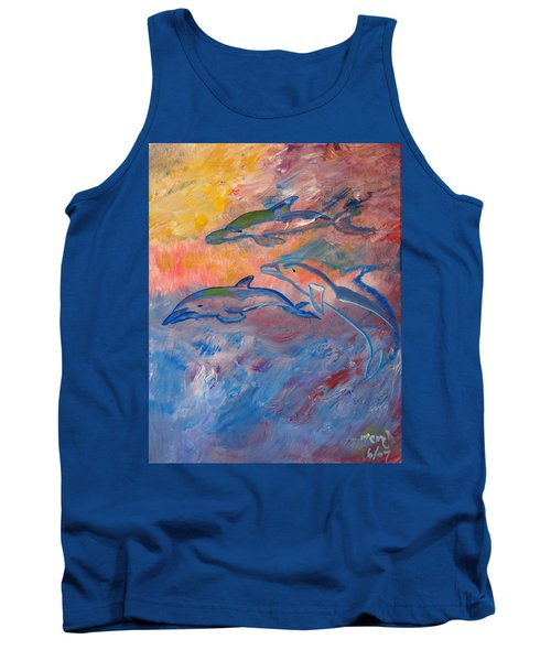 Tank Top featuring the painting  Soaring Dolphins by Meryl Goudey