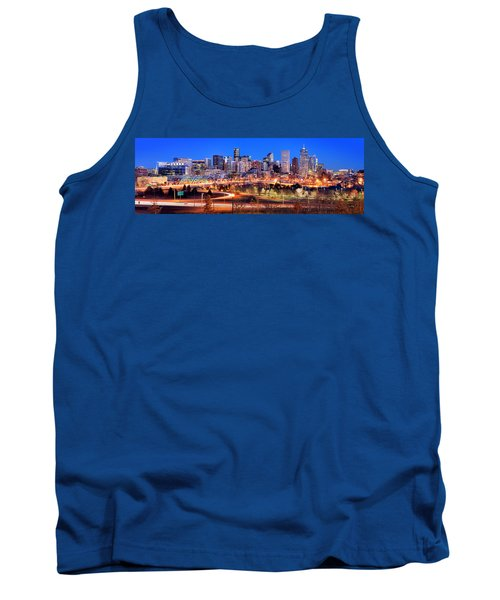Tank Top featuring the photograph Denver Skyline At Dusk Evening Color Evening Panorama Broncos Colorado  by Jon Holiday