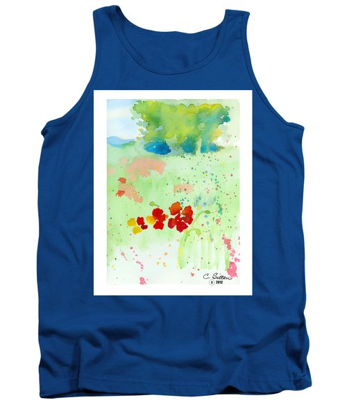 Tank Top featuring the painting Field Of Flowers by C Sitton