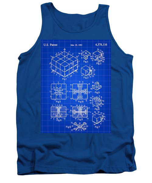 Rubik's Cube Patent 1983 - Blue Tank Top by Stephen Younts