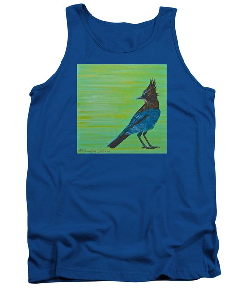 Tank Top featuring the painting Stellar Jay by Jennifer Lake