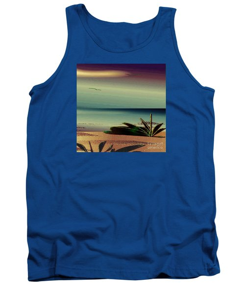 Tank Top featuring the drawing Sunset On The Beach by Iris Gelbart