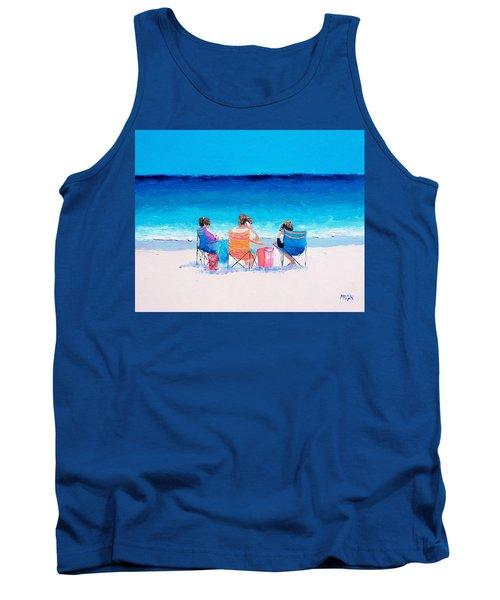 Beach Painting 'girl Friends' By Jan Matson Tank Top by Jan Matson