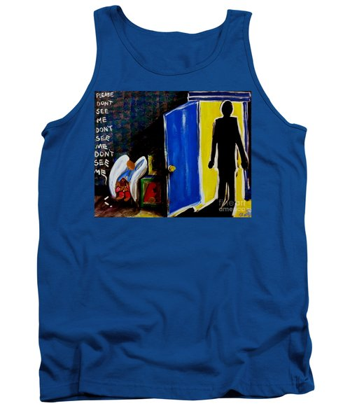 Tank Top featuring the painting Don't See Me by Jackie Carpenter