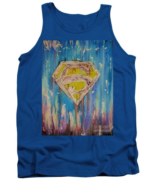 Tank Top featuring the painting Superman's Shield by Justin Moore
