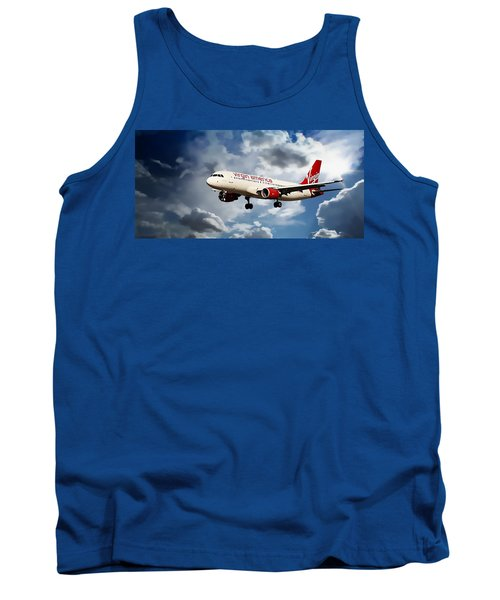 Flight Tank Top featuring the photograph Virgin America Mach Daddy  by Aaron Berg