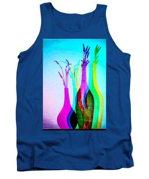 4 Vases In Colored Light Silhouettes Tank Top