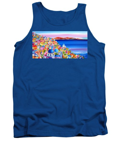 Tank Top featuring the painting A Bright Day In Santorini Greece by Roberto Gagliardi