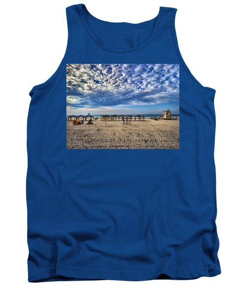 Tank Top featuring the photograph a good morning from Jerusalem beach  by Ron Shoshani