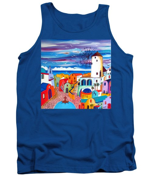 Tank Top featuring the painting A Greek Mill And The Colors Of Oia Santorini  by Roberto Gagliardi