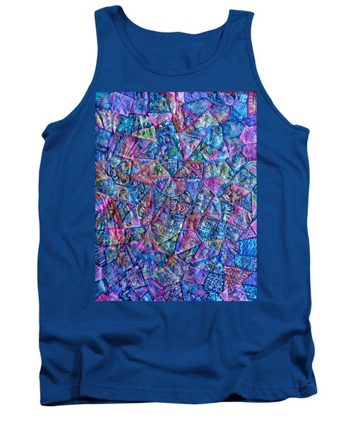 Abstract Blue Rose Quilt Tank Top