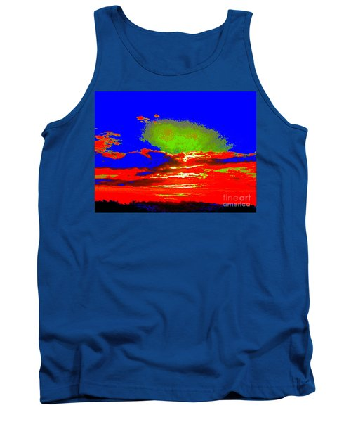 Tank Top featuring the photograph Abstract Sunset Orange Blue Green And So On by Roberto Gagliardi