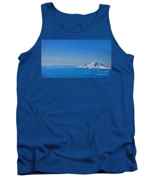 Aerial View Of Mount Rainier Volcano Art Prints Tank Top