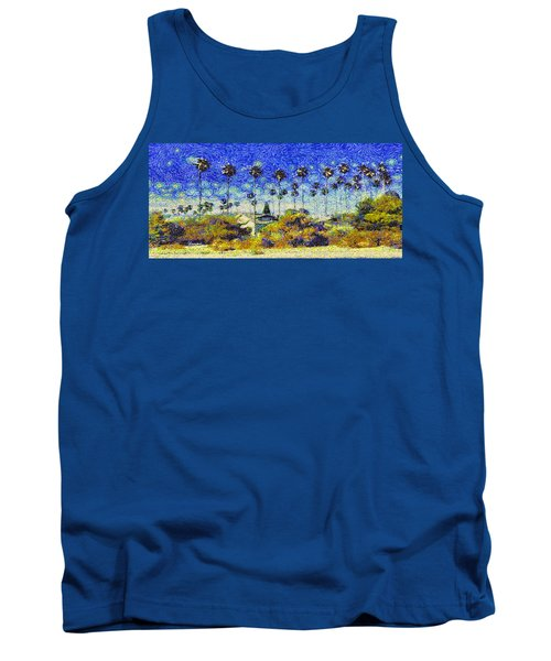 Alameda Famous Burbank Palm Trees Tank Top by Linda Weinstock