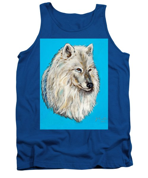 Tank Top featuring the painting Alaska White Wolf by Bob and Nadine Johnston