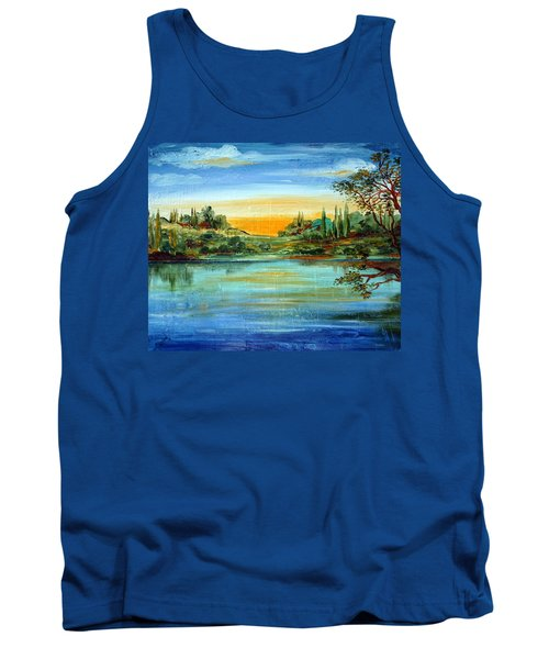 Tank Top featuring the painting Alba Sul Lago by Roberto Gagliardi