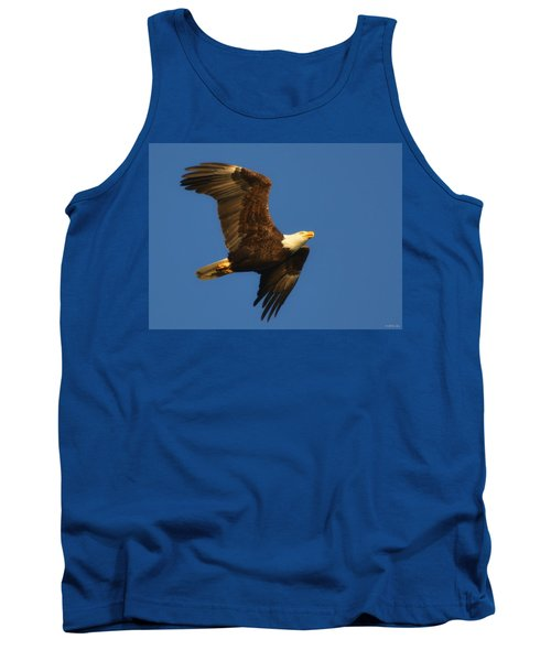 Tank Top featuring the photograph American Bald Eagle Close-ups Over Santa Rosa Sound With Blue Skies by Jeff at JSJ Photography