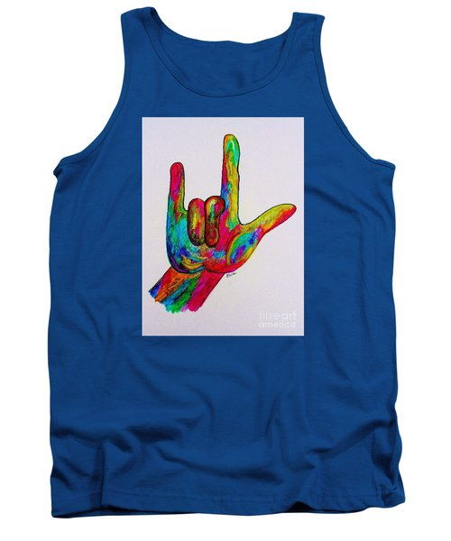 American Sign Language I Love You Tank Top by Eloise Schneider