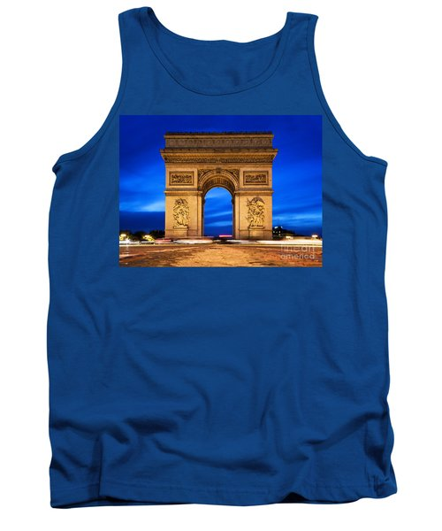 Arc De Triomphe At Night Paris France  Tank Top
