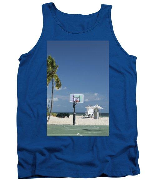Basketball Goal On The Beach Tank Top