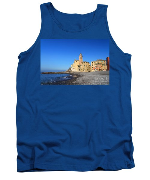 Tank Top featuring the photograph beach and church in Camogli by Antonio Scarpi