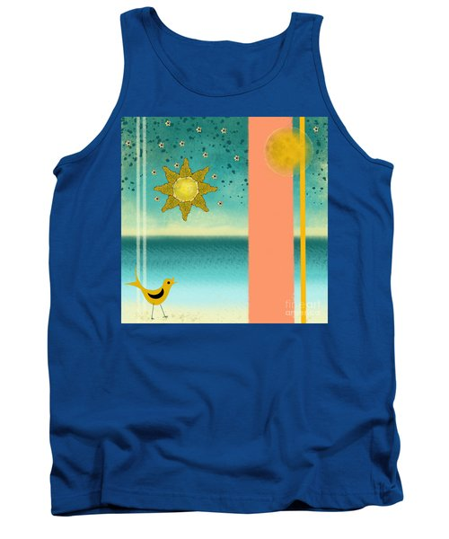 Tank Top featuring the painting Beach Bird by Carol Jacobs