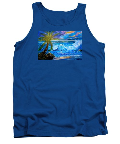 Tank Top featuring the painting Beach Sunset In Hawaii by Jenny Lee